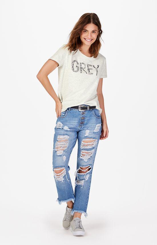 Calça Jeans Boyfriend Puídos Enfim Azul Claro - 34
