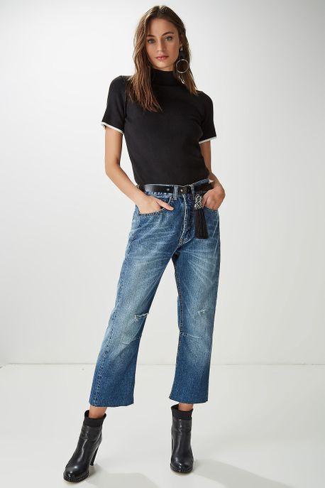 Calça Jeans Cinto Borla Azul - 36