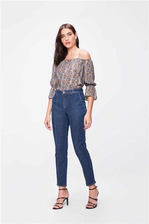 Calça Jeans Cintura Alta Chino Cropped