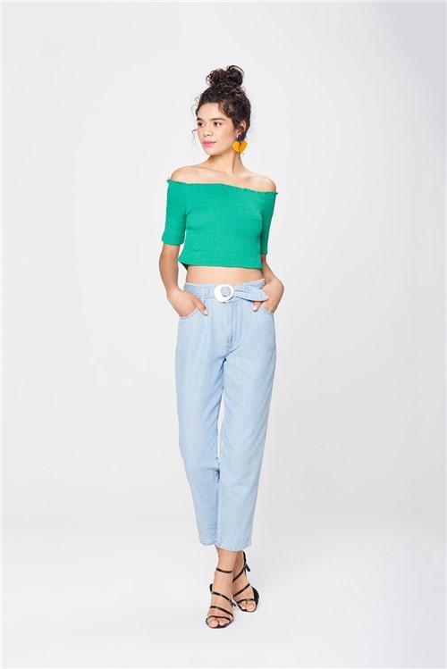 Calça Jeans Clochard Cropped Feminina