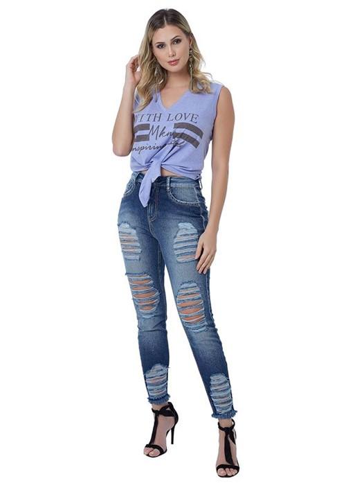 Calça Jeans com Detalhes Destroyed