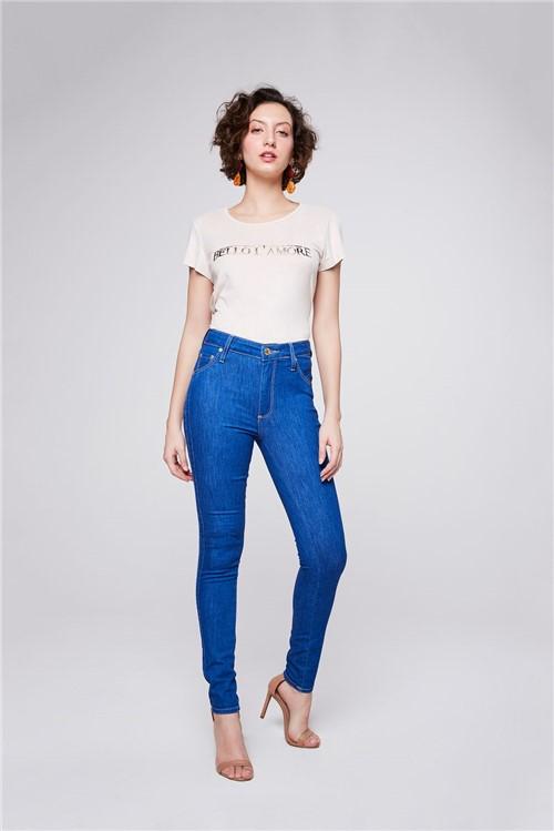 Calça Jeans com Recortes Laterais