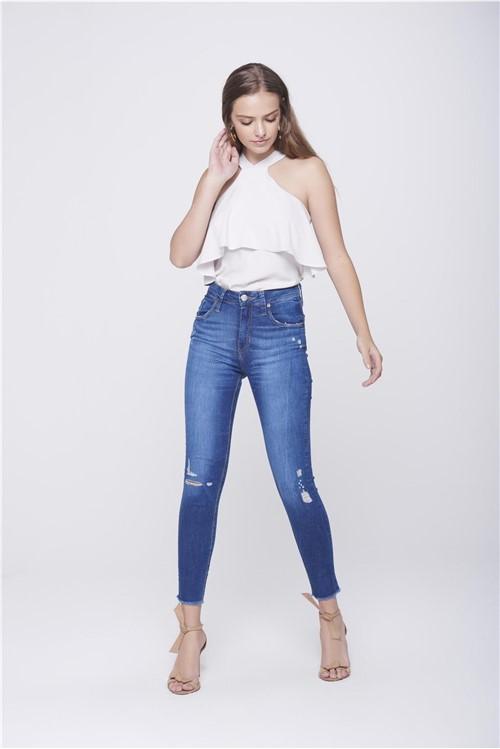 Calça Jeans Cropped Destroyed Feminina