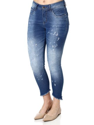 Calça Jeans Cropped Feminina Über Azul