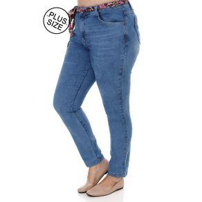 Calça Jeans Cropped Plus Size Feminina Azul 54