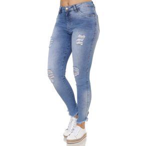 Calça Jeans Destroyed Feminina Mokkai Azul 38