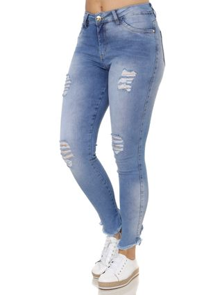 Calça Jeans Destroyed Feminina Mokkai Azul