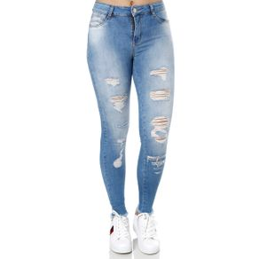 Calça Jeans Destroyed Feminina Sawary Azul 40