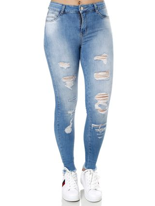 Calça Jeans Destroyed Feminina Sawary Azul