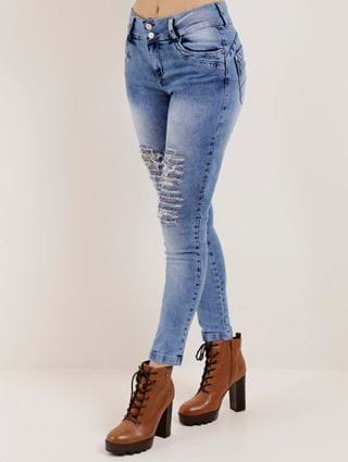 Calça Jeans Destroyed Feminina Über Azul