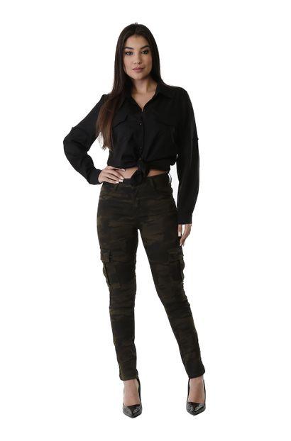 Calça Jeans Feminina Cigarrete Camuflada - 260819 36