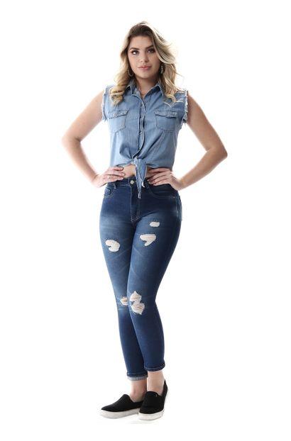 Calça Jeans Feminina Cropped Super Lipo - 257064 38