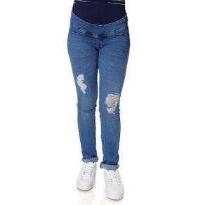 Calça Jeans Feminina Gestante Azul 46