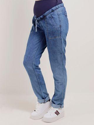 Calça Jeans Feminina Gestante Azul