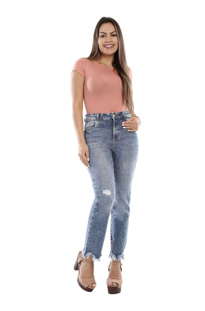 Calça Jeans Feminina Reta Destroyed - 260375 36