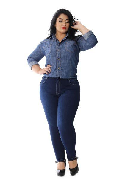 Calça Jeans Feminina Skinny Plus Size - 258313 46