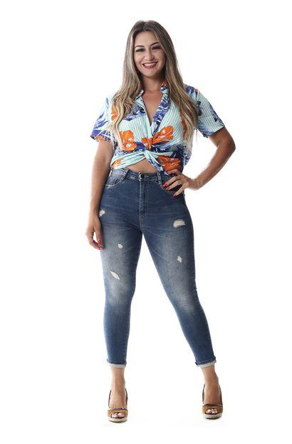 Calça Jeans Feminina Super Lipo Cropped - 258028 36