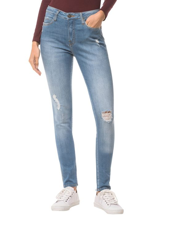 Calça Jeans Five Pockets Ckj 001 Super Skinny - Azul Claro Calça Jeans Five Pockets Super Skinny - Azul Claro - 34