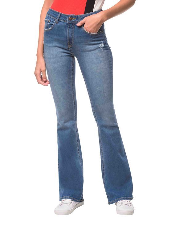 Calça Jeans Five Pockets Mid Rise Flare - Azul Médio - 36