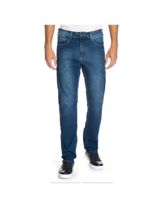 Calca Jeans Five Pockets Slim - Azul Médio - 40