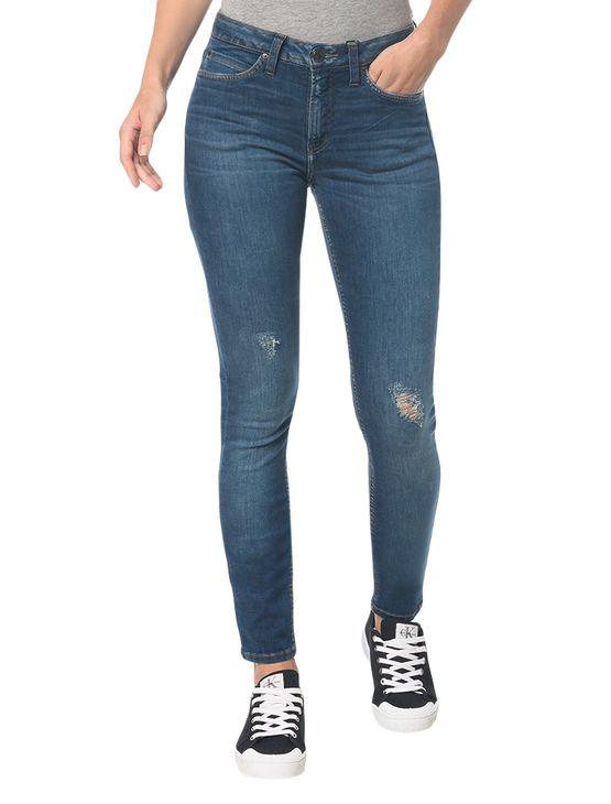 Calça Jeans Five Pocktes Mid Rise Skinny Ckj 011 Mid Rise Skinny - Azul Médio - 36