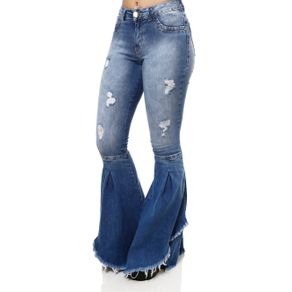 Calça Jeans Flare Feminina Mokkai Azul 38