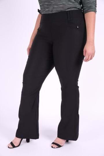 Calça Jeans Flare Feminina Plus Size Preto 46