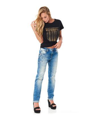 Calça Jeans Girlfriend Bordado