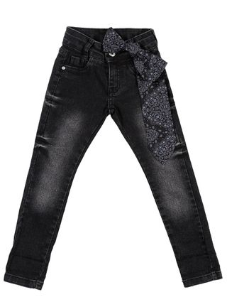 Calça Jeans Infantil para Menina - Preto