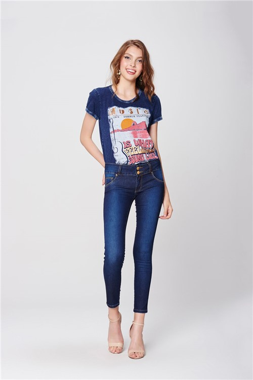 Calça Jeans Jegging Cropped Up Feminina