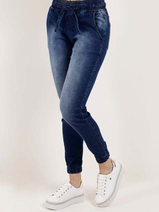 Calça Jeans Jogger Feminina Mokkai Azul
