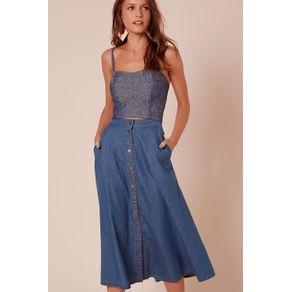 Calça Jeans Midi Botões Jeans Azul Claro - 38