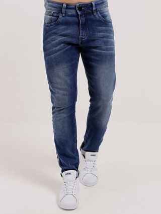 Calça Jeans Moletom Masculina Azul