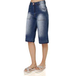 Calça Jeans Pantacourt Feminina Uber Azul 40