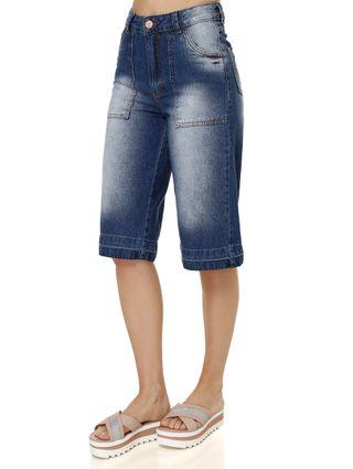 Calça Jeans Pantacourt Feminina Uber Azul