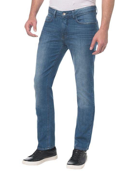 Calça Jeans Pockets Slim Straight Azul Médio Calça Jeans Pockets Slim Straight - Azul Médio - 40