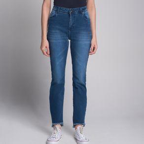 Calça Jeans Reta Barra Desfiada Azul - 36