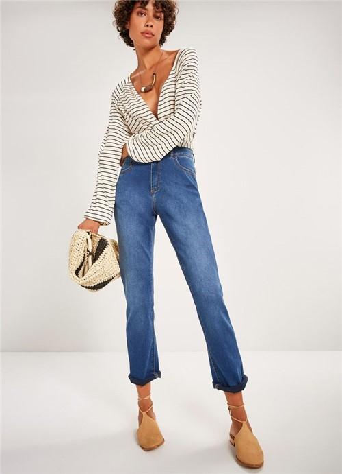 Calça Jeans Reta Cintura Alta Comfort Stone JEANS 34
