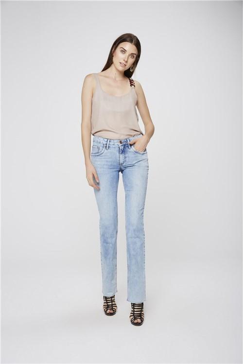 Calça Jeans Reta com Barra a Fio