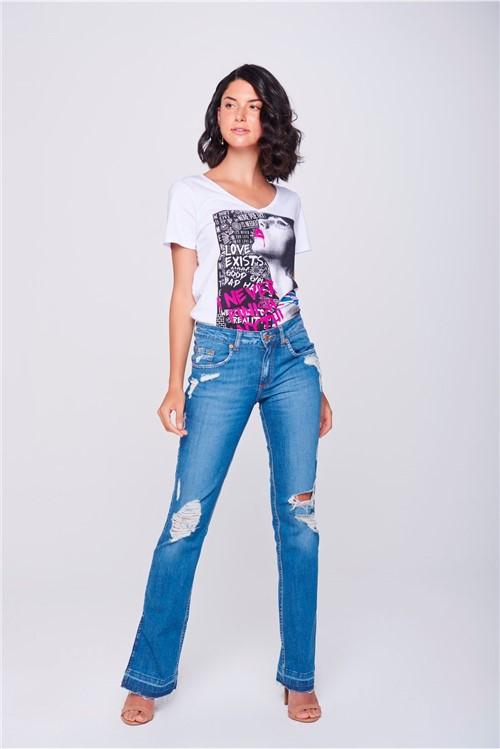 Calça Jeans Reta Destroyed com Fendas