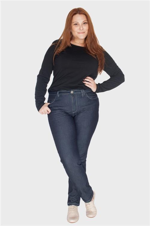 Calça Jeans Skinny Amassado Plus Size AZUL ESCURO-46