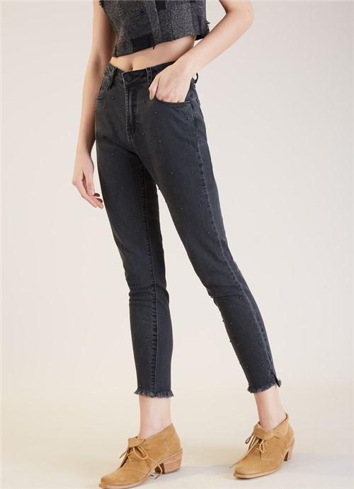 Calça Jeans Skinny Black Poá Metal Preto 34