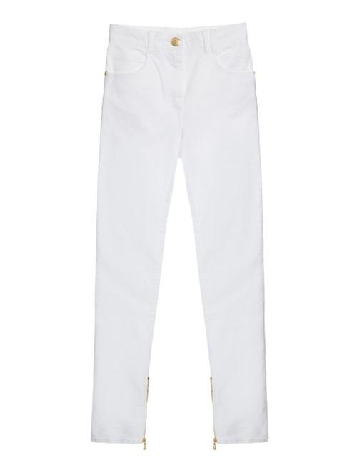 Calça Jeans Skinny de Algodão Branca Tamanho 36