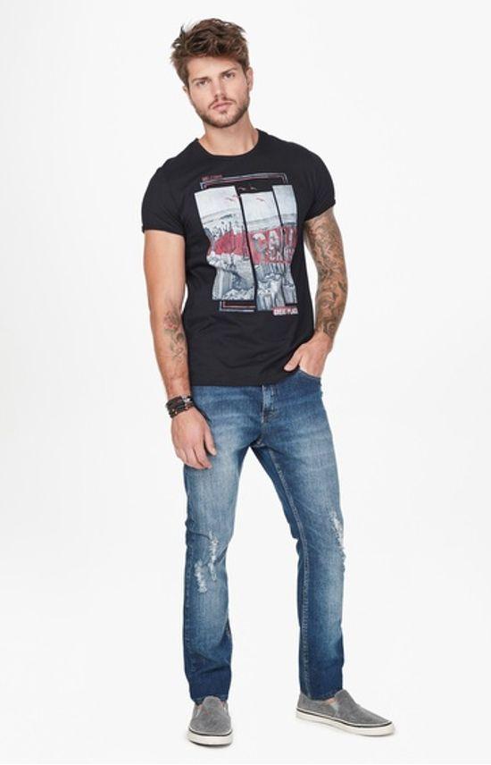 Calça Jeans Skinny Puídos Enfim Azul - 36