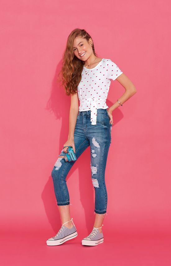 Calça Jeans Tradicional Puídos Enfim Azul Claro - 36