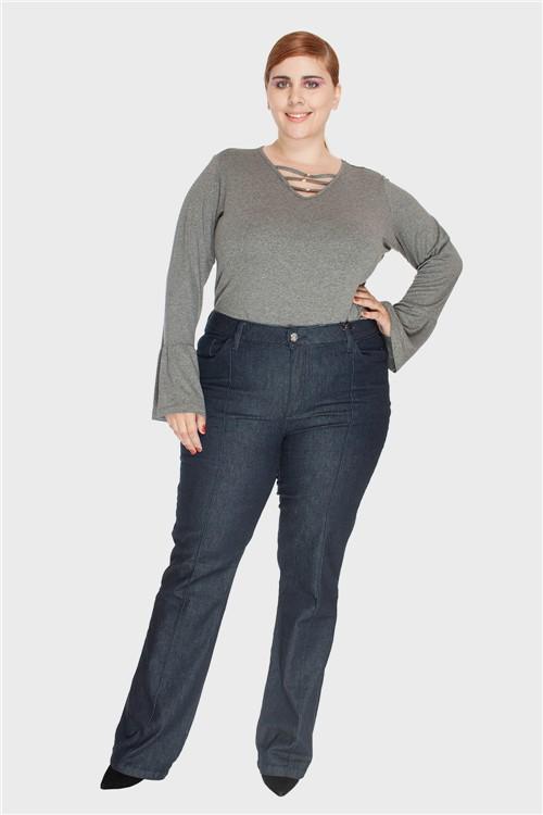 Calça Jeans Upcycle Stone Plus Size Azul-44