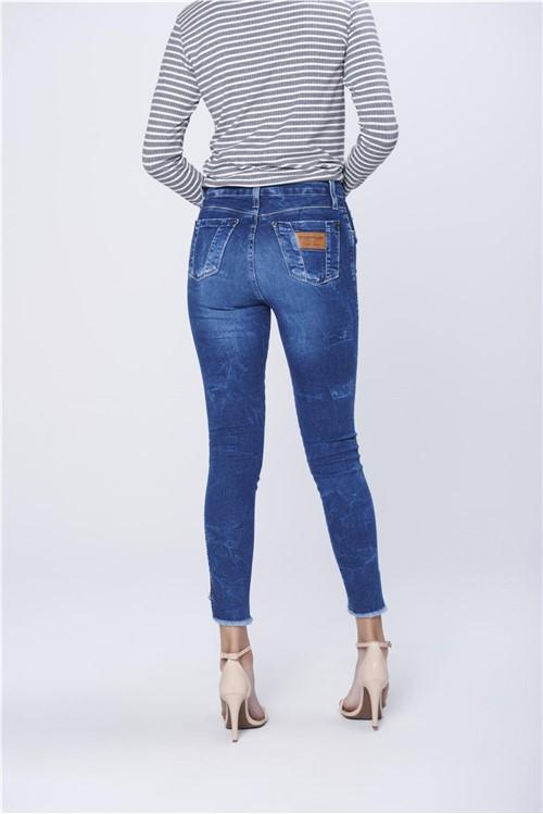 Calça Jegging Jeans com Barra Desfiada
