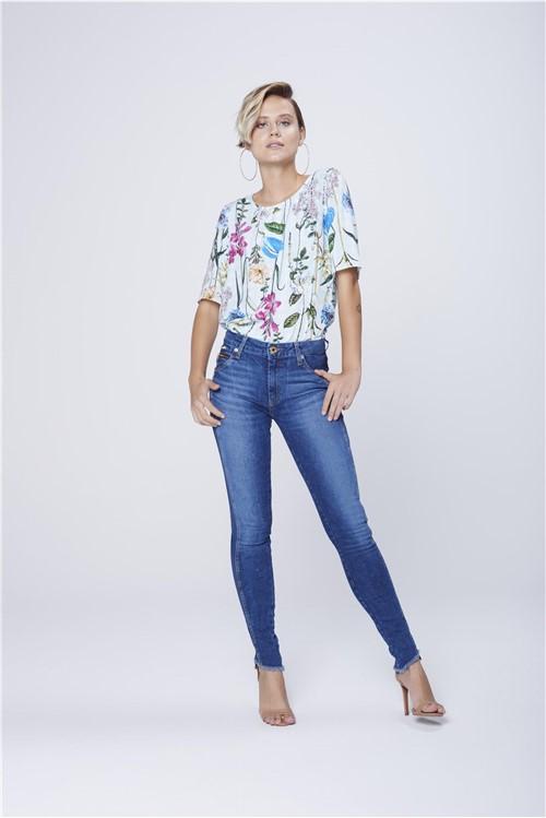 Calça Jegging Jeans com Recorte Lateral