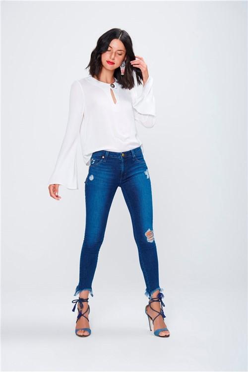 Calça Jegging Jeans Cropped Destroyed