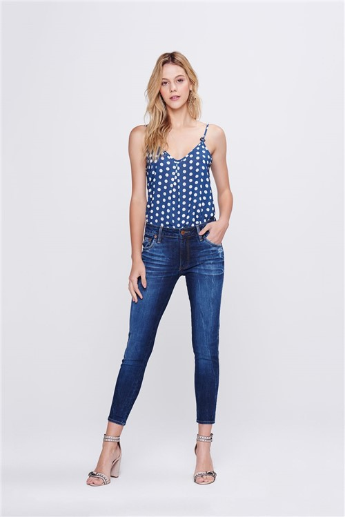 Calça Jegging Jeans Cropped Feminina